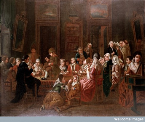 Mesmeric therapy. A group of mesmerised French patients Credit: Wellcome Library, London.