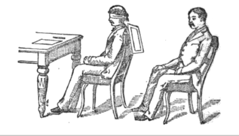 Figure 1: a schematic depiction of a thought-transference experiment from the 'Proceedings of the American Society for Psychical Research,' with the agent looking at a figure hidden from the percipient, and the percipient attempting to reproduce it.